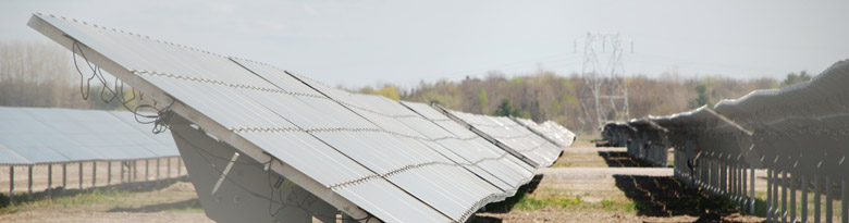 A picture of many panels at a solar farm near Arnprior, ON