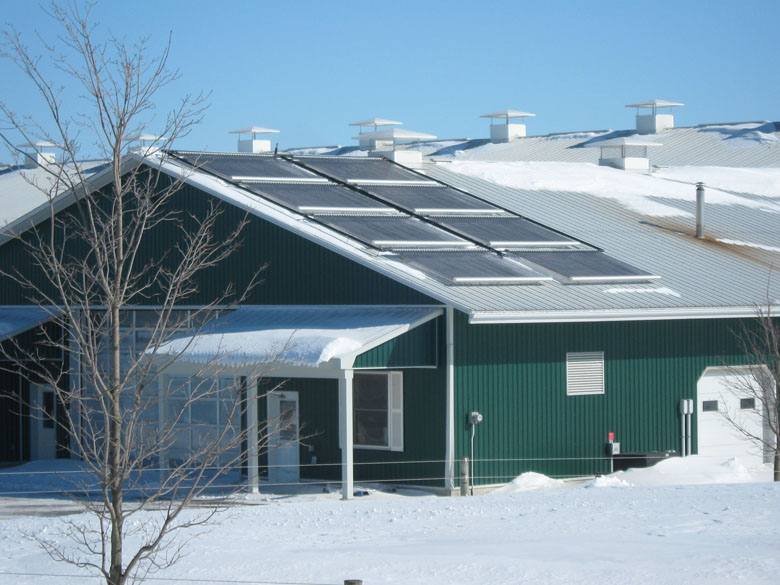 A picture of a solar hot water installation at a dairy farm